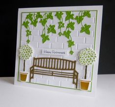 The first thing I did was to die-cut the ivy from the centre of the green mat - it's hidden and I'm frugal!  As I make square cards I had to extend the Darice brick wall embossing panel - I then added snippets of the ivy.  I cut the bench twice in some old packaging for the rustic look and spray glued together. I die-cut and embossed the topiary and sponged on the colours before popping up with foam pads. I used foam pads for the sentiment too. tfl.