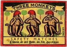 Three Monkeys Safety Matches