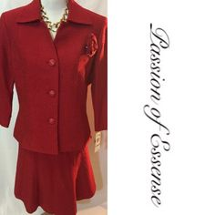 ⚫️ BLACK FRIDAY SALE ⚫️2pc Red Suit by Le Suit You can't go wrong with wearing this hot Red outfit, the skirt is short, it has extra buttons, Dry Clean only. Totally brand new. Le Suit Skirts Skirt Sets