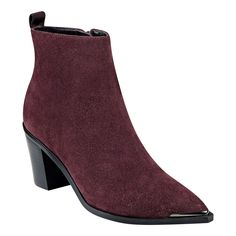 Chic pointed toe bootie with stacked heel.