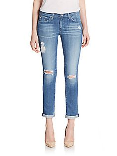 Distressed Slim Boyfriend Jeans