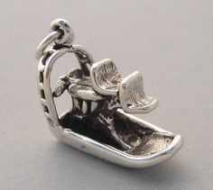 Sterling Silver 925 Charm Pendant 3D AIRBOAT Fan Boat Florida Everglades 3633 #Traditional