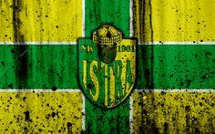 Download wallpapers 4k, FC Istra 1961, grunge, HNL, art, soccer, football club, Croatia, NK Istra 1961, logo, stone texture, Istra 1961 FC