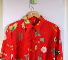 80s red Floral Print Wrap Front Slouchy Blouse L/Xl by vintachi, $17.00