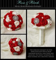 fabric flowers andbrooches    Red & Cream Vintage Inspired Handmade Roses Bridesmaid/Wedding/Bridal Bouquet