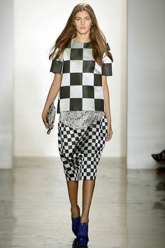 """Early-eighties checks, plaids, and font prints were absurdly exaggerated, giving the looks a winning madcap effect."" Alexandre Herchcovitch Spring 2013 RTW #NYFW"