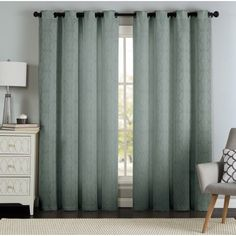 Lawrence Grommet Textured Geometric Jacquard Curtain Panel Pair, Gray