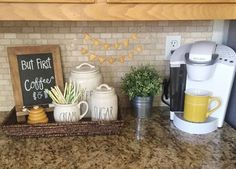 Do you have a coffee bar/coffee station in your kitchen? If not, you need to see this! I actually have this cabinet that would be perfect for a small coffee station! Coffee Bar / Coffee Station This is perfect for a small kitchen or if you don't have ro