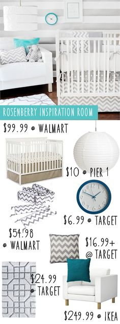 Rosenberry nursery on a budget. Get everything including furniture for under… Baby Room Furniture, Baby Room Decor, Nursery Room, Girl Nursery, Kids Bedroom, Furniture Ideas, Baby Boy Rooms, Baby Boy Nurseries, Nursery Inspiration
