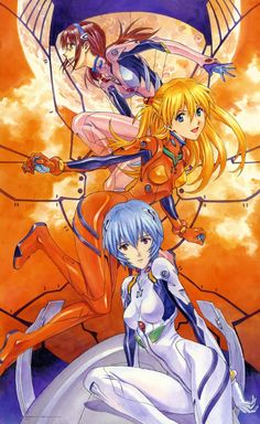 Neon Genesis Evangelion (From bottom to top) Rei Ayanami, Asuka Langley Soryu, and Mari Illustrious Shikinami Rei Ayanami, Manga Art, Manga Anime, Anime Art, Neon Genesis Evangelion Rei, Illustrations, Illustration Art, Akira, Good Anime Series
