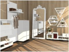 Created By Severinka Cleo hallway Created for: The Sims 4 The set includes 8 objects: - dresser - wall dresser - clothes hanger - shoe shelf - floor mirror - wall shelf House Design, House, Home, Sims House, Resource Furniture, Luxury Homes, Sims 4 Bedroom, Bedroom Deco, Narrow Hallway Decorating