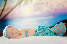 Newborn Crochet Mermaid Tail and Shell Top by AlishaMayCreations
