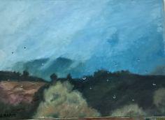 Óleo, paisaje lluvioso desde el bus. Paleta de Velázquez (blanco, ocre, rojo inglés, azul ultramar y negro). Amparo Ramis