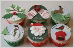 The Clever Little Cupcake Company Christmas Cupcake Toppers, Christmas Cake Designs, Christmas Cake Decorations, Christmas Cupcakes, Christmas Desserts, Christmas Treats, Christmas Clay, Christmas Figurines, Christmas Baking