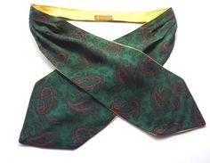 VINTAGE DAY CRAVAT ASCOT by TOOTAL  Green Red Paisley Reverse Yellow FREE P&P #Tootal #Cravat