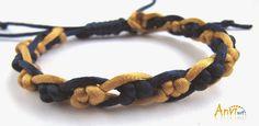 Anvi Art - Blog Anvila: Niebiesko żółta bransoletka ze sznurka gorsetowego...