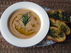 Herby Bean Soup And Garlic Bread  (skip the olive oil for fat free version)