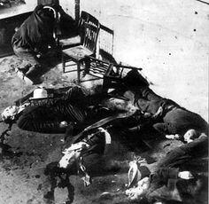 """Aftermath of the Valentine's Day Massacre in when Italian gangsters sent by Al Capone slaughtered Irish mobsters working for Bugs Moran. It's easy to say """"they were just gangsters,"""" but those gangsters probably had wives and kids. Al Capone, Valentines Day Massacre, San Valentin Ideas, Real Gangster, Mafia Gangster, Rhapsody In Blue, Mobsters, Scene Photo, Dia De"""