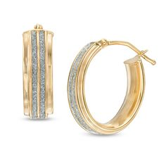 Oval Double Row Glitter Hoops in 10K #Gold Save big during #MayisGoldMonth! #JumpinThroughHoops #MIGM #Gold #Earrings