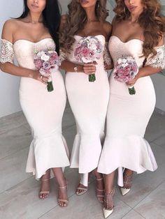 white lace bridesmaid dresses 2020 mermaid elegant off the shoulder cheap wedding guest dresses 2021 Lace Bridesmaids, Wedding Bridesmaid Dresses, Bridal Dresses, Cheap Wedding Guest Dresses, Dream Wedding Dresses, Maid Of Honour Dresses, Trend Fashion, Bridesmaids, Wedding Hairstyles