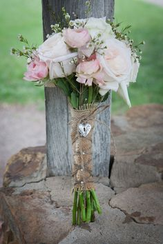 Western Wedding in Oklahoma- I like the way the bouquet is wrapped Rustic Bridal Bouquets, Wedding Bouquets, Pale Pink, Pink Roses, Rustic Wedding, Wedding Ideas, Cowgirl And Horse, Oklahoma Wedding, Flower Ideas