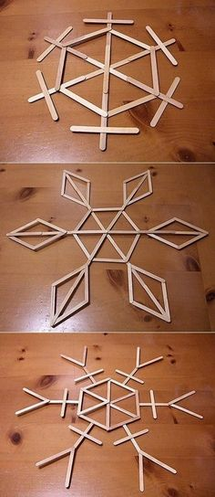DIY: Snowflake Popsicle Stick Art (glue & paint, if desired)  Would be pretty with glitter too!