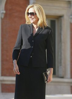 Spanish Infanta Cristina, Duchess of Palma de Mallorca makes her way through the crowds, sporting a similar outfit to Letizia during the Funeral Mass and Memorial Service for the late Kardam Prince of Turnovo at Los Jerenimos Church on June 8, 2015 in Madrid