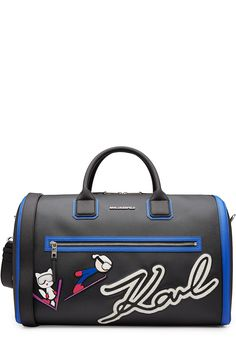 KARL LAGERFELD Tote with Patches. #karllagerfeld #bags #hand bags #polyester #tote #