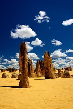 Australian Desert. The Pinnacles are limestone formations contained within Nambung National Park, near the town of Cervantes, Western Australia.