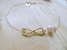 Personalisierte Infinity erste Armband Unendlichkeit Perle