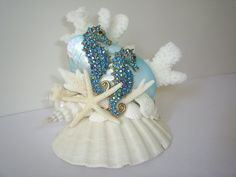 Beach Theme Wedding Cake Topper Jeweled Seahorses Seashell Seahorse Decor