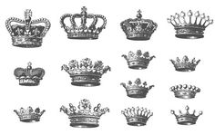 Set of 14 different royal crowns symbol of respect which usually made with expensive jewelry element and floral ornamental design in several vintage style