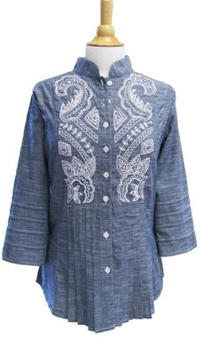 Bleu Bayou blue chambray shirt, white embr/beading