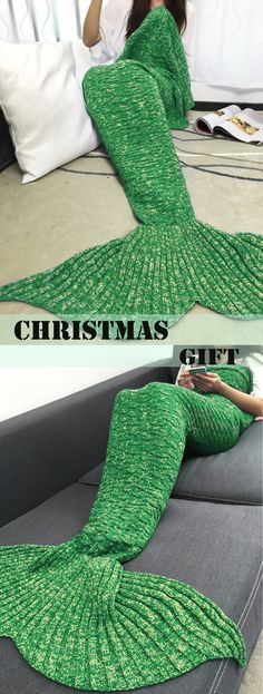 $20.40 Keep Warm Acrylic Knitted Sofa Mermaid Tail Style Blanket