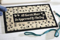 Approved by Dog Paw Print Door Mat