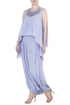 Featuring a periwinkle double layer top in silk with flared hem and tassel detailing. It is teamed with embellished cowl dhoti pants. FIT: Cut for relaxed fit. CARE: Dry clean only. Midi Dress With Sleeves, Pernia Pop Up Shop, Layered Tops, Periwinkle, Designer Wear, Indian Wear, Cowl, Tassel, Layers