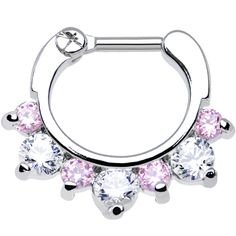 """16 Gauge 1/4"""" Seven Pink and Clear Cubic Zirconia Septum Clicker 