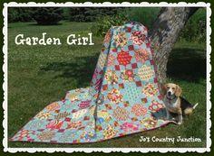 "Moda Bake Shop: Garden Girl Quilt Finished Block Size:  10"" Finished Quilt Size:  80"" x 90""        Layout:  8 x 9"