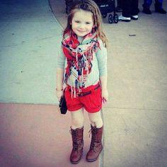Shorts boots scarf long sleeve t cute little girls look