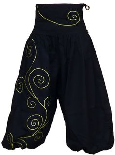 Pantalon Sarouel ATK188 Noir/vert népalais Ethnique Mixte SAMOURAÏ tailles 34/48 - Izia-Ethnic