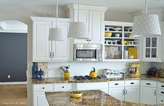 navy and yellow kitchen nook