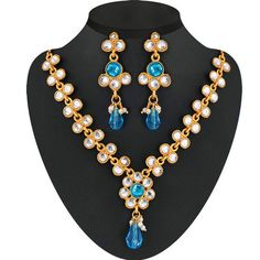 Exclusive Link Pattern Necklace Set With Pearl Drop Necklaces and Necklace Sets on Shimply.com