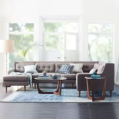 Crosby 4-Piece Chaise Sectional #westelm Selected: Pebble Weave, Shale