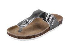 U and U Girl's Metallic PU Birken T-Strap Thong Sandals ^^ Additional details found at the image link  : Girls sandals