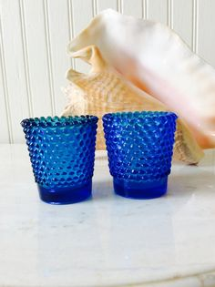 Vintage Pair of Cobalt Blue Glass Hobnail Votives, Candleholders, Candle Votives, Coastal, Cottage, French Country, Bohemian Decor