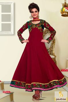 Dark pink party wear Anarkali Salwar Suit is excellent with nice embroidery, stone, resham and lace patti works. It is made with the true georgette. Visit us:  http://www.pavitraa.in/store/anarkali-salwar-suit/ http://www.pavitraa.in/
