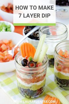 These 7 Layer Mexican Dip Cups are made with black beans instead of refried beans. Perfect to use leftovers from Taco night or as a party appetizer! 7 Layer Mexican Dip, Mexican Dips, Layer Dip, Mexican Party, Healthy Taco Recipes, Healthy Tacos, Healthy Food, Homemade Guacamole, Guacamole Recipe