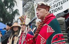 Elder Edwin Newman of the Heiltsuk First Nation speaks against the Enbridge Pipeline project at the Vancouver Art Gallery. First Nations were joined by enviromental groups and labour organizations to protest the planned pipeline that would stretch from Alberta to the northern B.C. coast.
