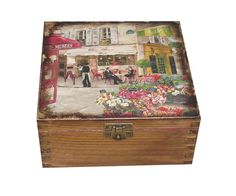 Caja+de+té+madera.+Caja+de+almacenamiento+del+por+DecoupageMargaret