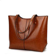 45bab6146282 SA 2018 New Style Large Size Kvinder Taske OIL Patent Læder Håndtasker Big Shoulder  Bag Luksus Håndtasker Kvinder Tasker Designer Tote